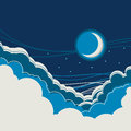 Night sky background with half moon and clouds
