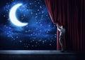 stock image of  Night sky behind curtain