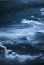 Night sky dark blue with clouds formation Stock Image