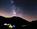 Night Sky in a High Camp Royalty Free Stock Photo