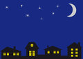 The night sky and at home. Royalty Free Stock Photo