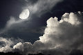 Night sky with moon and clouds Stock Photos