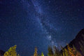 Night sky in the mountains. Milky way. Millions of stars overhead. Journey through the Altai mountains Royalty Free Stock Photo