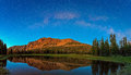 Night sky panorama with Hayden Peak in the Uinta Mountains. Royalty Free Stock Photo