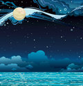 Night sky and sea starry with full moon calm Royalty Free Stock Photography