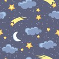 Night sky seamless pattern in vector Stock Image