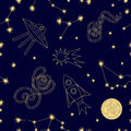 Night sky. Seamless vector pattern with constellations, moon, ufos rockets and stars.