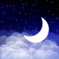 Night sky with shiny moon Stock Images
