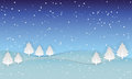 Night sky with snow christmas landscape nature background, paper art style illustration Royalty Free Stock Photo