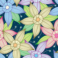 Night Sky Star Flower Seamless Pattern_eps Royalty Free Stock Images