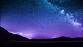 Night sky stars with milky way over mountains italy castelluccio di norcia Stock Images