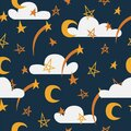 Night sky vector seamless pattern with stars, clouds and moon