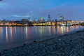 Night skyline of city of London and Thames river, England Royalty Free Stock Photo