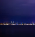 Night skyline of dnipropetrovsk over the river dnipro ukraine with reflection in Royalty Free Stock Photos
