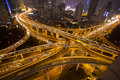Night skyline view of Shanghai city and highways with car lamp t Royalty Free Stock Photo