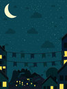 Night small town moon vector illustration Stock Image
