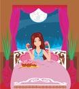 Night snacking funny illustration Royalty Free Stock Photos