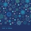 Night snowflakes horizontal border frame seamless Royalty Free Stock Photo