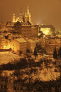 Night snowy prague gothic castle czech republic Royalty Free Stock Images