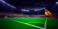 Night stadium arena soccer field championship win blue toning confetti and tinsel Stock Photo