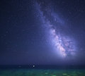 Night starry sky with Milky Way at the sea. Background Royalty Free Stock Photo