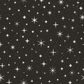 Night Starry Sky Seamless Pattern. Space Vector Background. Abstract Black Texture with Star Royalty Free Stock Photo