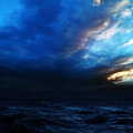 Night storm on the sea. Royalty Free Stock Photo