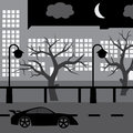 Night street with car tree and buildings eps black Royalty Free Stock Photo