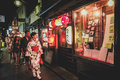 Night street in kyoto and market japan Stock Image