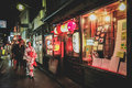 Night street in kyoto and market japan Stock Photos