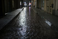 Night street in rainy weather in Ostend, Belgium Royalty Free Stock Photo