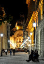 Night street scene in bucharest old city time lapse photo Royalty Free Stock Photos