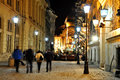 Night street scene in bucharest old city time lapse photo Stock Image