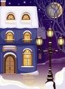 Noc ulice zasnežený dom a lampáš