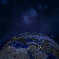 Night surface of the planet earth elements this image are furnished by nasa Stock Photography