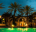 Night swimming pool against the palm t Royalty Free Stock Photo