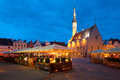 Night Tallinn Town Hall Square Stock Photos