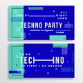 Night Techno Party Club Invitation Card or Flyer Template. Modern Abstract Flat Swiss Style Background Royalty Free Stock Photo