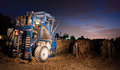 Night Time Agriculture Fruit Harvest Grape Harvesting Machine Royalty Free Stock Photo