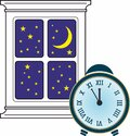 Night time, at five minutes to twelve, clock image Royalty Free Stock Photo
