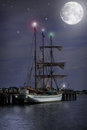 Night time Sail Boat Royalty Free Stock Image