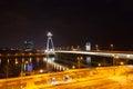 Night traffic on the bridge across the Dunai