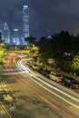 Night Traffic in Hong Kong city Royalty Free Stock Photo