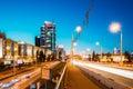 Night Traffic On Illuminated Street Pobediteley Avenue In Minsk.