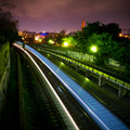 Night train on the move Royalty Free Stock Images