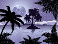 Night tropic island palm trees silhouette on beach background with abstract moon Royalty Free Stock Image