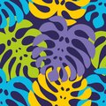 Night tropics. Colorful seamless pattern with exotic leaves. Vector background