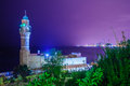Night view of Al-Bahr  Mosque, Haffa Royalty Free Stock Photo
