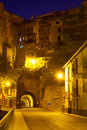 Night view of albarracin with tunnel aragon spain Royalty Free Stock Images