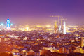 Night view of barcelona from high point catalonia spain Stock Photo